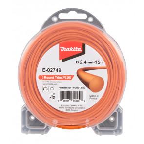 Makita E-02749 struna nylonová Plus 2,4mm, 15m, oranžová, kulatá