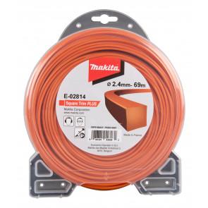 Makita E-02814 struna nylonová Plus 2,4mm, 69m, oranžová, hranatá